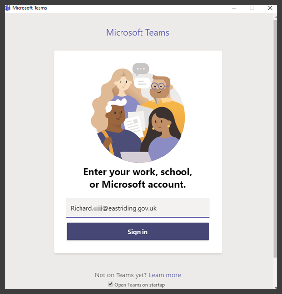 Microsoft Teams sign-in